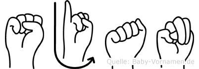 Sjan im Fingeralphabet der Deutschen Gebärdensprache