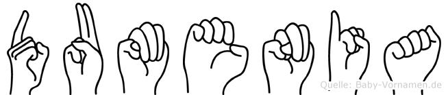 Dumenia im Fingeralphabet der Deutschen Gebärdensprache