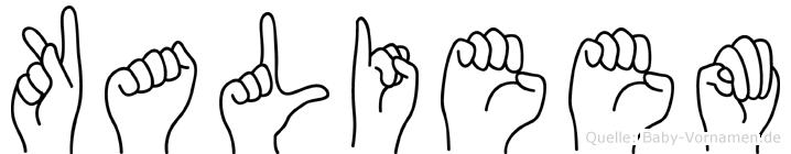 Kalieem im Fingeralphabet der Deutschen Gebärdensprache
