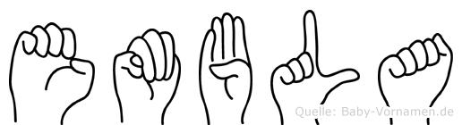 Embla im Fingeralphabet der Deutschen Gebärdensprache