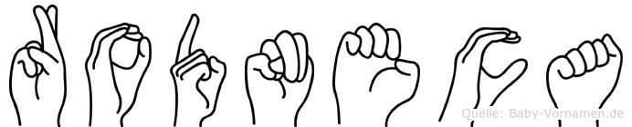 Rodneca im Fingeralphabet der Deutschen Gebärdensprache