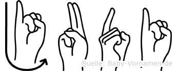 Judi im Fingeralphabet der Deutschen Gebärdensprache