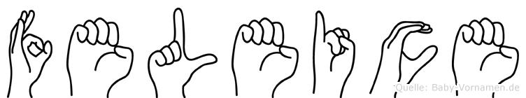 Feleice in Fingersprache für Gehörlose