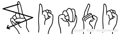 Zindi im Fingeralphabet der Deutschen Gebärdensprache