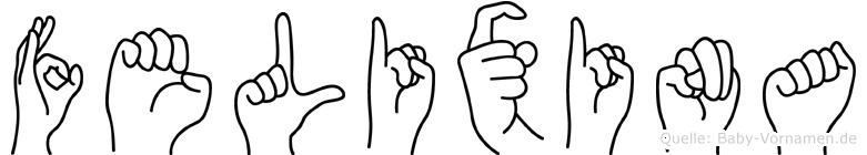 Felixina im Fingeralphabet der Deutschen Gebärdensprache