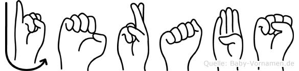 Jerabs im Fingeralphabet der Deutschen Gebärdensprache