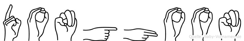 Donghoon im Fingeralphabet der Deutschen Gebärdensprache
