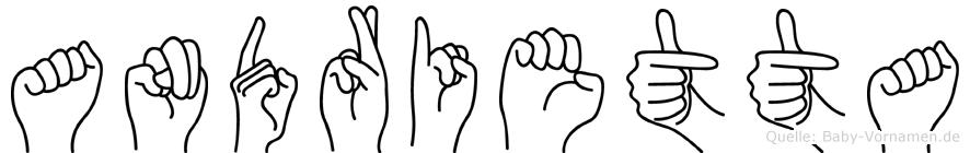 Andrietta im Fingeralphabet der Deutschen Gebärdensprache