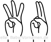 Wu im Fingeralphabet der Deutschen Gebärdensprache