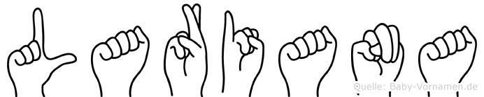 Lariana im Fingeralphabet der Deutschen Gebärdensprache