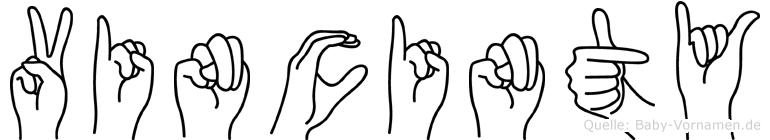 Vincinty im Fingeralphabet der Deutschen Gebärdensprache