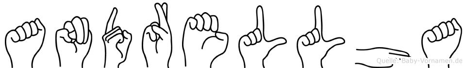 Andrellha im Fingeralphabet der Deutschen Gebärdensprache