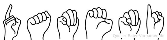 Dameni in Fingersprache für Gehörlose