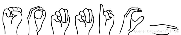 Sonnich im Fingeralphabet der Deutschen Gebärdensprache