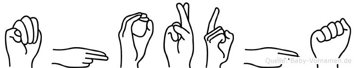 Mhordha im Fingeralphabet der Deutschen Gebärdensprache