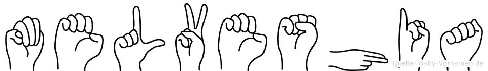 Melveshia im Fingeralphabet der Deutschen Gebärdensprache