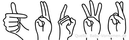 Tudwr im Fingeralphabet der Deutschen Gebärdensprache