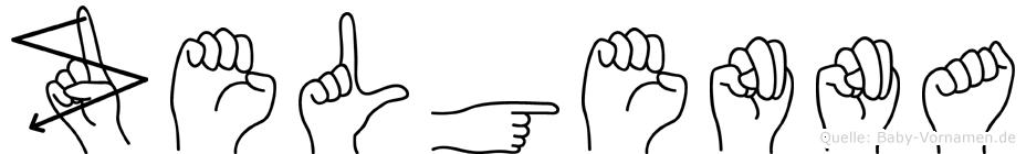 Zelgenna im Fingeralphabet der Deutschen Gebärdensprache