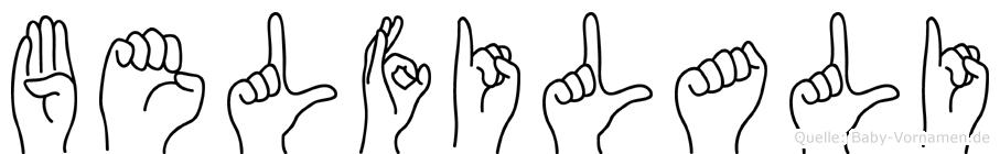 Belfilali im Fingeralphabet der Deutschen Gebärdensprache