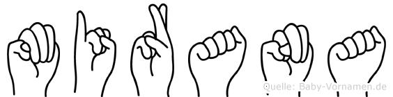 Mirana im Fingeralphabet der Deutschen Gebärdensprache