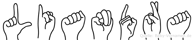Liandra im Fingeralphabet der Deutschen Gebärdensprache
