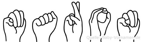 Maron im Fingeralphabet der Deutschen Gebärdensprache