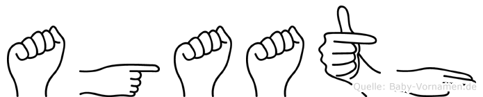 Agaath im Fingeralphabet der Deutschen Gebärdensprache