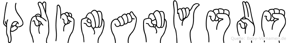 Primanysus im Fingeralphabet der Deutschen Gebärdensprache