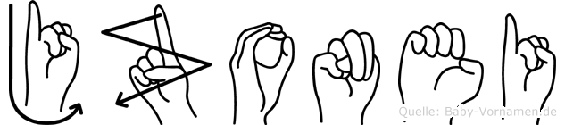 Jzonei im Fingeralphabet der Deutschen Gebärdensprache