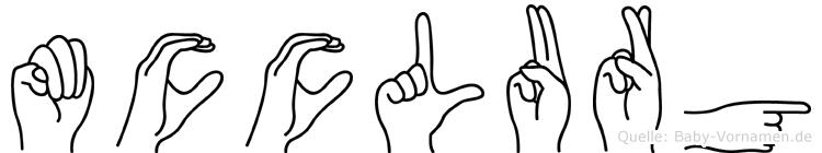 Mcclurg im Fingeralphabet der Deutschen Gebärdensprache