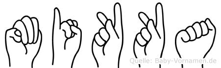 Mikka im Fingeralphabet der Deutschen Gebärdensprache