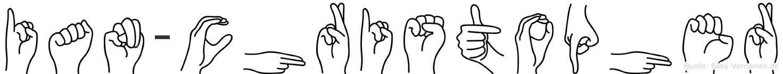 Ian-Christopher im Fingeralphabet der Deutschen Gebärdensprache