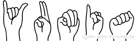 Yumia im Fingeralphabet der Deutschen Gebärdensprache