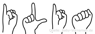 Ilia im Fingeralphabet der Deutschen Gebärdensprache
