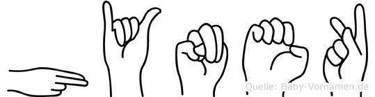 Hynek im Fingeralphabet der Deutschen Gebärdensprache