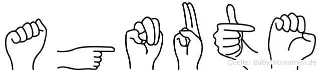Agnute im Fingeralphabet der Deutschen Gebärdensprache