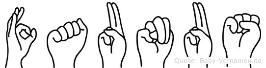 Faunus im Fingeralphabet der Deutschen Gebärdensprache