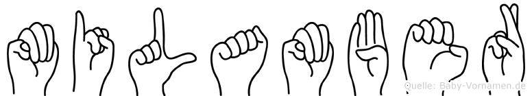 Milamber im Fingeralphabet der Deutschen Gebärdensprache