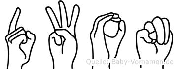 Dwon im Fingeralphabet der Deutschen Gebärdensprache