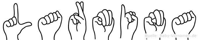 Larmina im Fingeralphabet der Deutschen Gebärdensprache