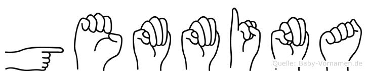 Gemmina im Fingeralphabet der Deutschen Gebärdensprache