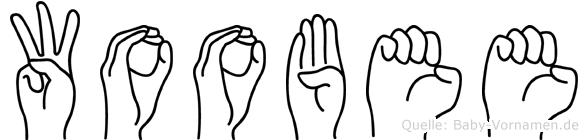 Woobee im Fingeralphabet der Deutschen Gebärdensprache