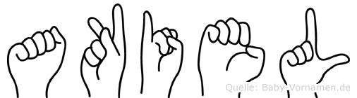 Akiel im Fingeralphabet der Deutschen Gebärdensprache