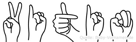 Vitin im Fingeralphabet der Deutschen Gebärdensprache