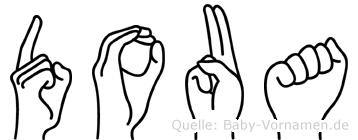 Doua im Fingeralphabet der Deutschen Gebärdensprache