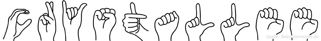 Crystallee im Fingeralphabet der Deutschen Gebärdensprache
