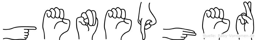 Genepher im Fingeralphabet der Deutschen Gebärdensprache