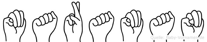 Maraman im Fingeralphabet der Deutschen Gebärdensprache