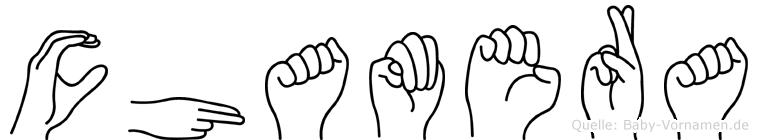 Chamera im Fingeralphabet der Deutschen Gebärdensprache