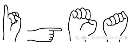 Igea im Fingeralphabet der Deutschen Gebärdensprache